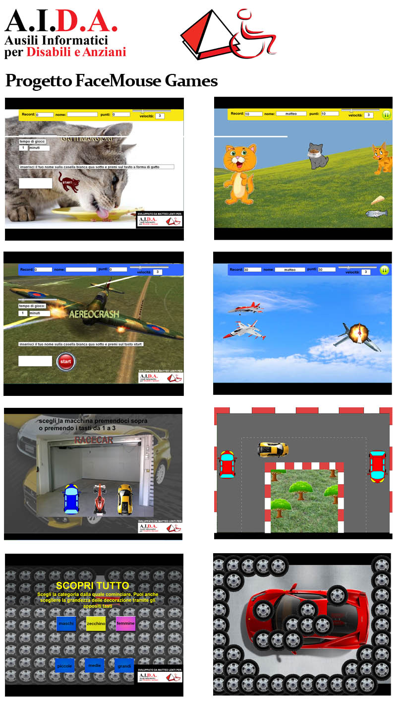 Screens of FaceMOUSE Games